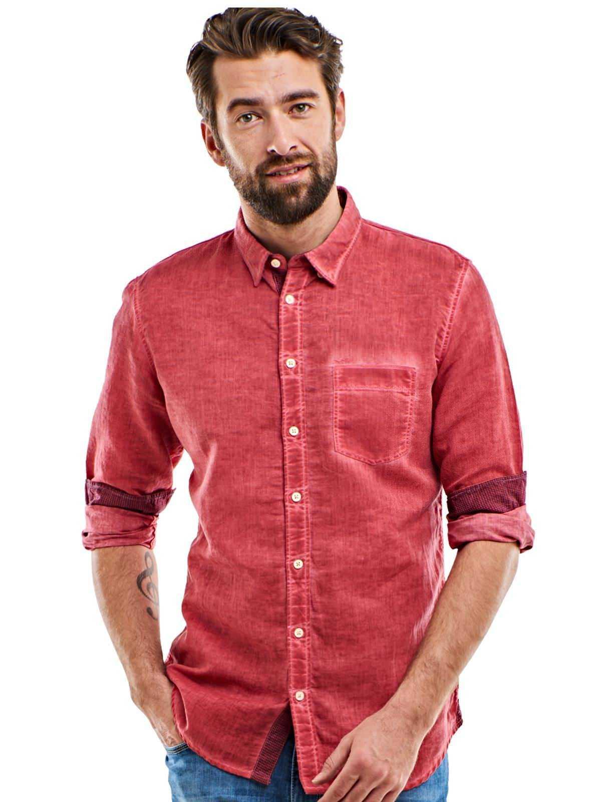 engbers Hemd uni | Bekleidung > Hemden > Sonstige Hemden | Rot | Leinen | Engbers
