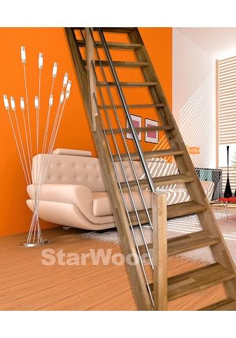 STARWOOD Raumspartreppe »Rhodos«, offene Stufen, gerade, Holz - Edelstahlgeländer rechts kaufen