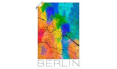 Artland Wandbild »Retro Karte Berlin Deutschland Aquarell«, Deutschland, (1 St.), in vielen Größen & Produktarten - Alubild / Outdoorbild für den Außenbereich, Leinwandbild, Poster, Wandaufkleber / Wandtattoo auch für Badezimmer geeignet kaufen