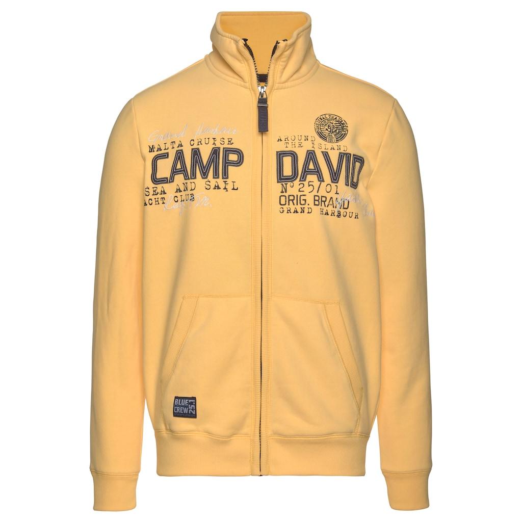 CAMP DAVID Sweatjacke, mit markanter Logo-Applikation