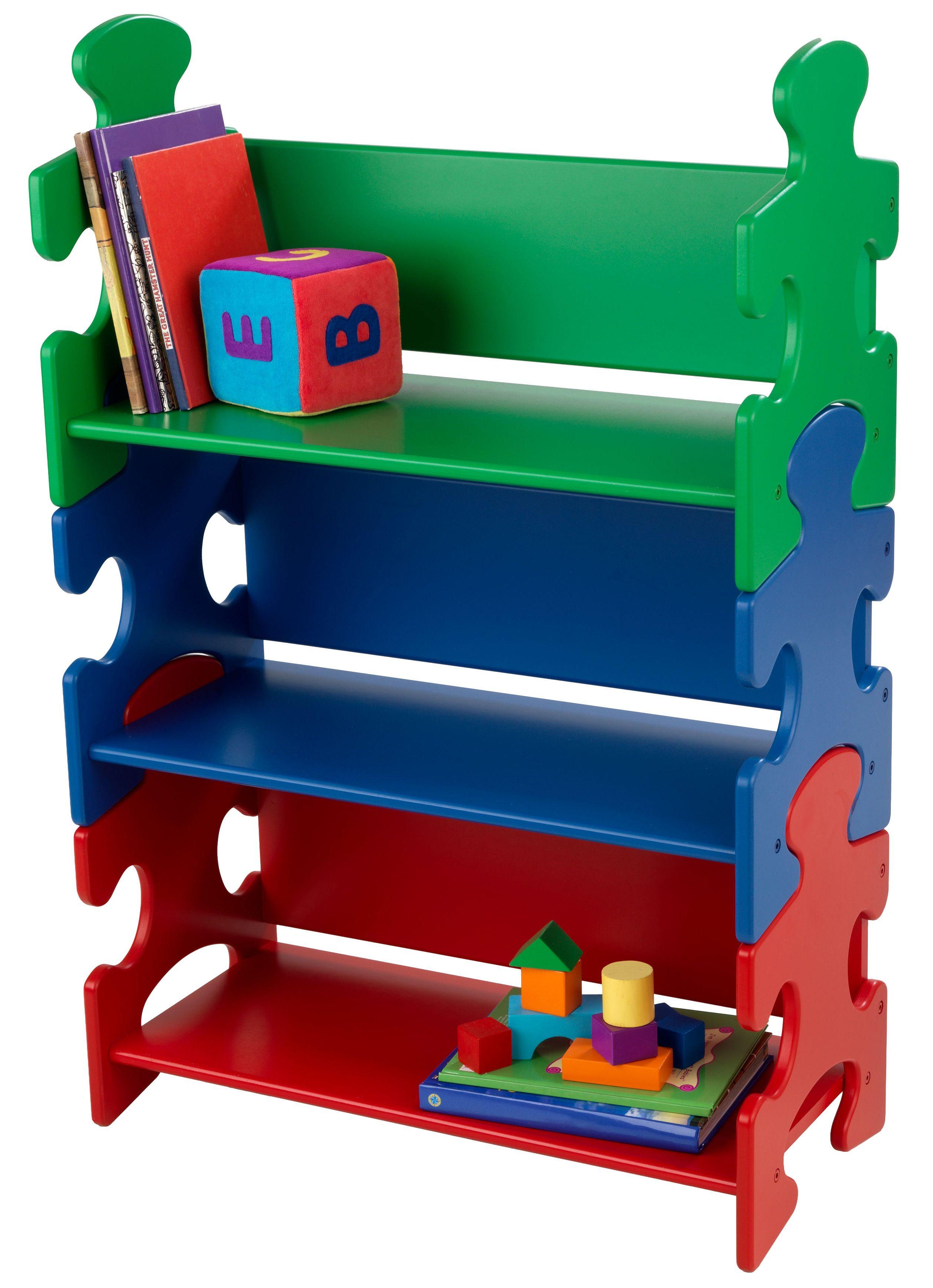 KidKraft Bücherregal Puzzle - Primary grün Kinder Ab 3-5 Jahren Altersempfehlung