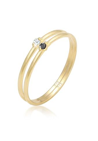 Elli Diamantring »Solitär Schwarz Weiss Diamant (0.03 ct.) Gelbgold« kaufen