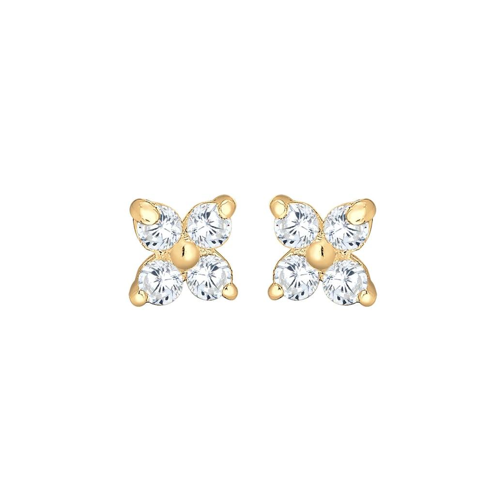 Elli Paar Ohrstecker »Blume Zirkonia 585 Gelbgold«