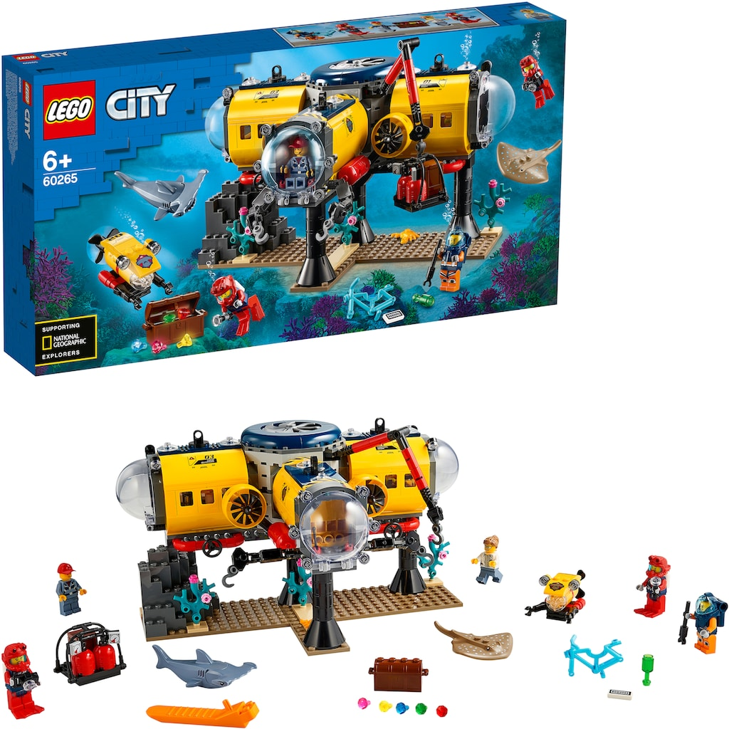 LEGO® Konstruktionsspielsteine »Meeresforschungsbasis (60265), LEGO® City Oceans«, (497 St.), Made in Europe