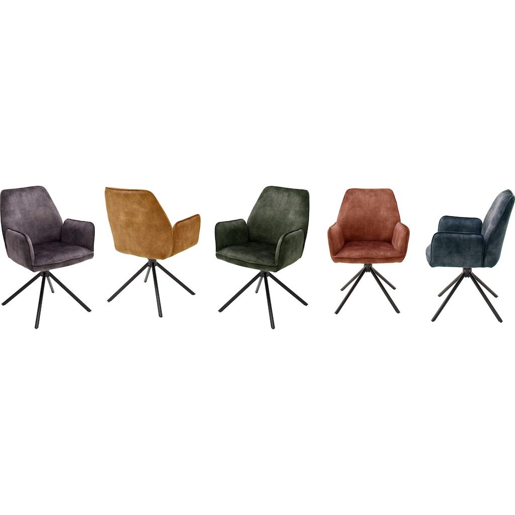 MCA furniture Esszimmerstuhl »Ottawa mit Armlehne«, Vintage Veloursoptik mit Keder, Stuhl belastbar bis 120 Kg