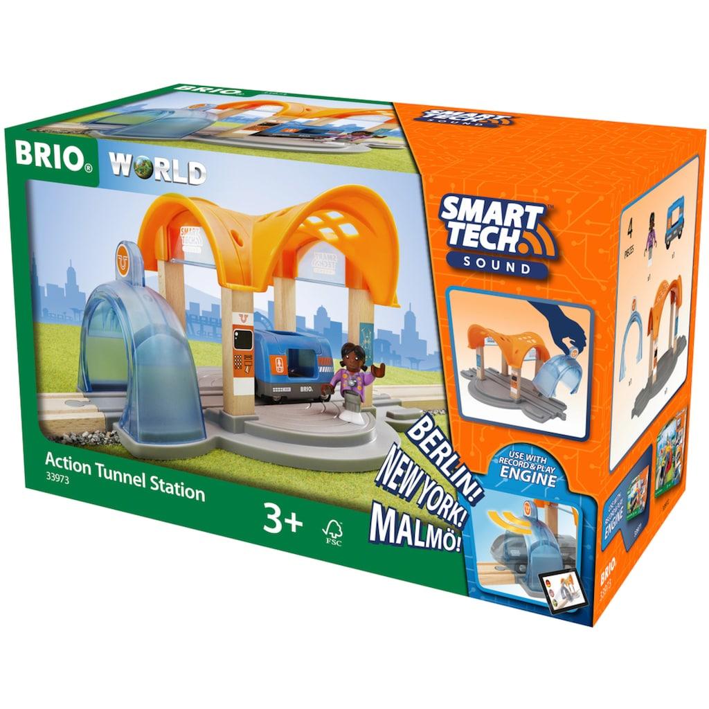 BRIO® Spielzeugeisenbahn-Tunnel »Smart Tech Sound Bahnhof mit Action Tunnel«, FSC®-Holz aus gewissenhaft bewirtschafteten Wäldern