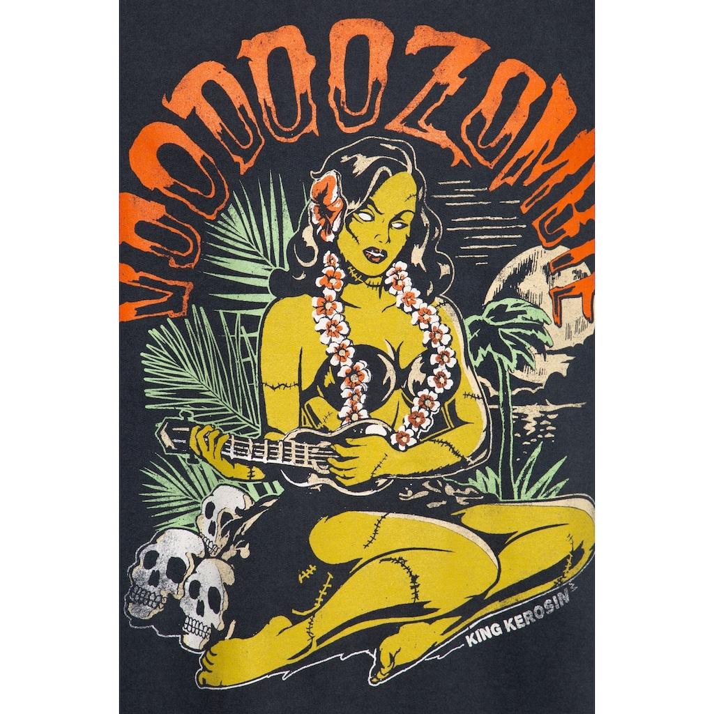 KingKerosin Sweater »Voodoo«, mit Raglanärmeln und legerem Enzymwash-Effekt