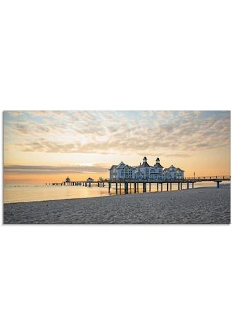 Artland Glasbild »Seebrücke Sellin bei Sonnenaufgang«, Strand, (1 St.) kaufen