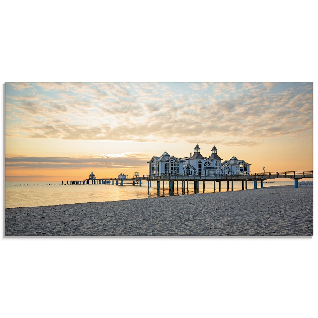 Artland Glasbild »Seebrücke Sellin bei Sonnenaufgang«, Strand, (1 St.)