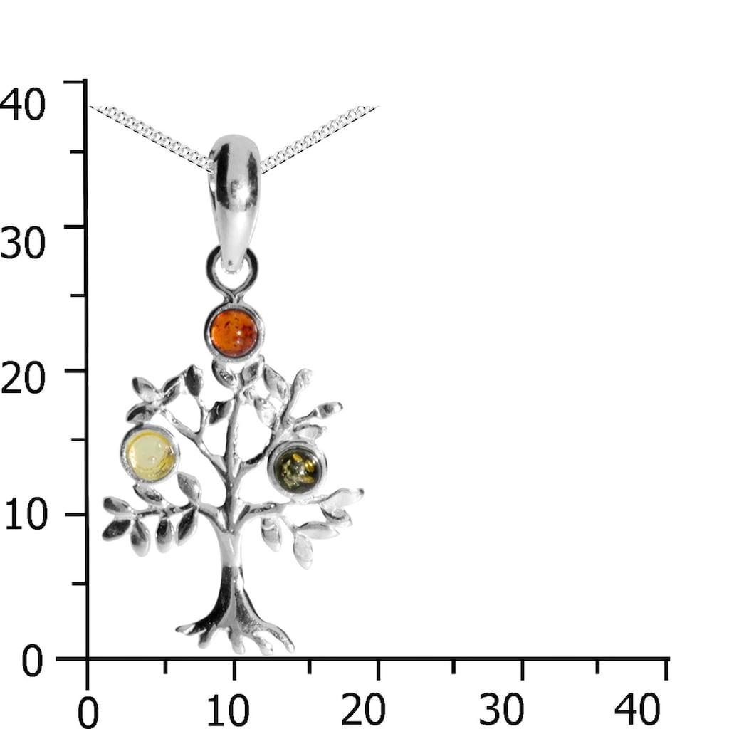 OSTSEE-SCHMUCK Kette mit Anhänger »- Lebensbaum - Silber 925/000 - Bernstein«, (2 tlg.)