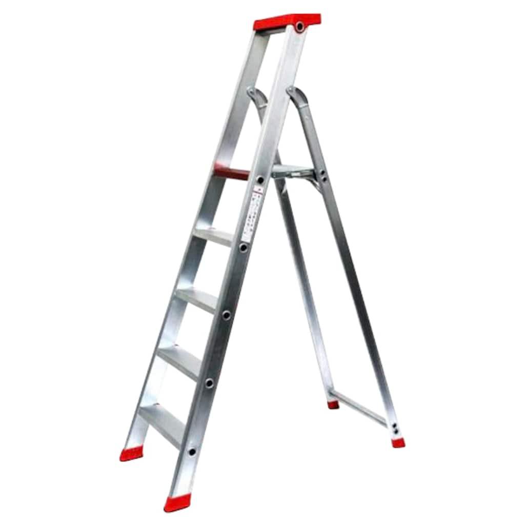 SZ METALL Stehleiter, Aluminium, 3,25 m, 5-stufig