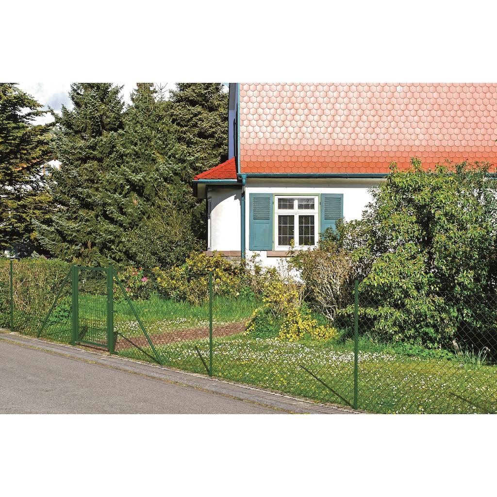 GAH Alberts Maschendrahtzaun, 125 cm hoch, 25 m, grün beschichtet, zum Einbetonieren