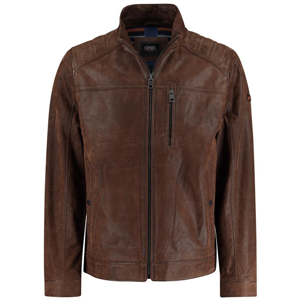 DNR Jackets Lederjacke, mit Stehkragen und Eingrifftaschen