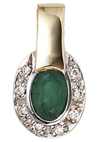 JOBO Kettenanhänger, oval 585 Gold bicolor mit 8 Diamanten und Smaragd kaufen