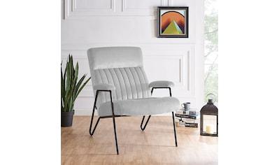 Home affaire Sessel »Tanaro«, mit einem Metallgestell und einem pflegeleichten, weichen Samtvelours Bezug, Sitzhöhe 44 cm kaufen