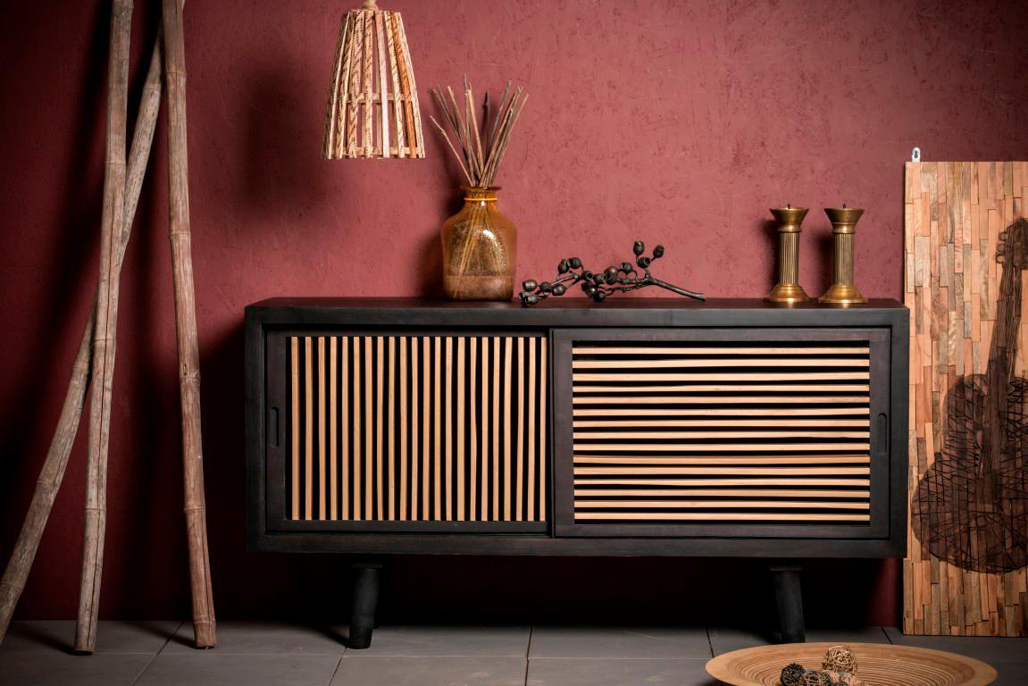 Home Affaire Sideboard Joe aus massiven Mangoholz und eingefrästen Griffmulden Breite 160 cm