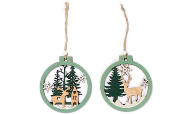 CHRISTMAS GOODS by Inge Dekohänger »Hirsch im Wald«, 2-fach sortiert kaufen