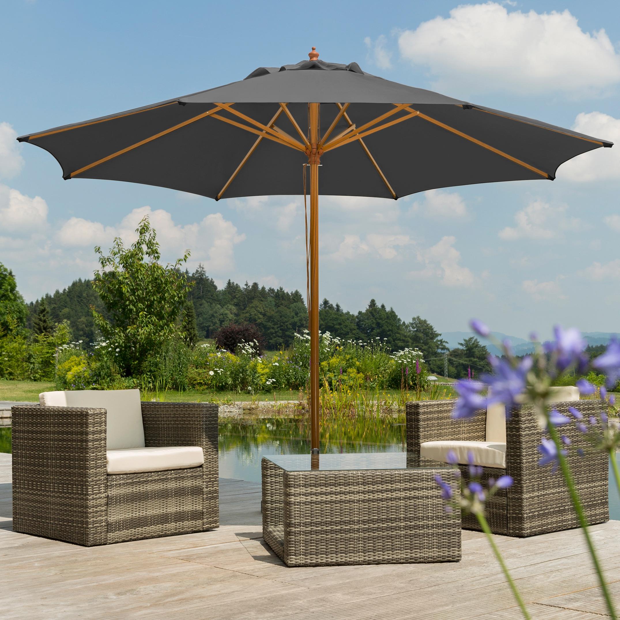 Schneider Schirme Sonnenschirm Malaga, ohne Schirmständer grau Sonnenschirme -segel Gartenmöbel Gartendeko