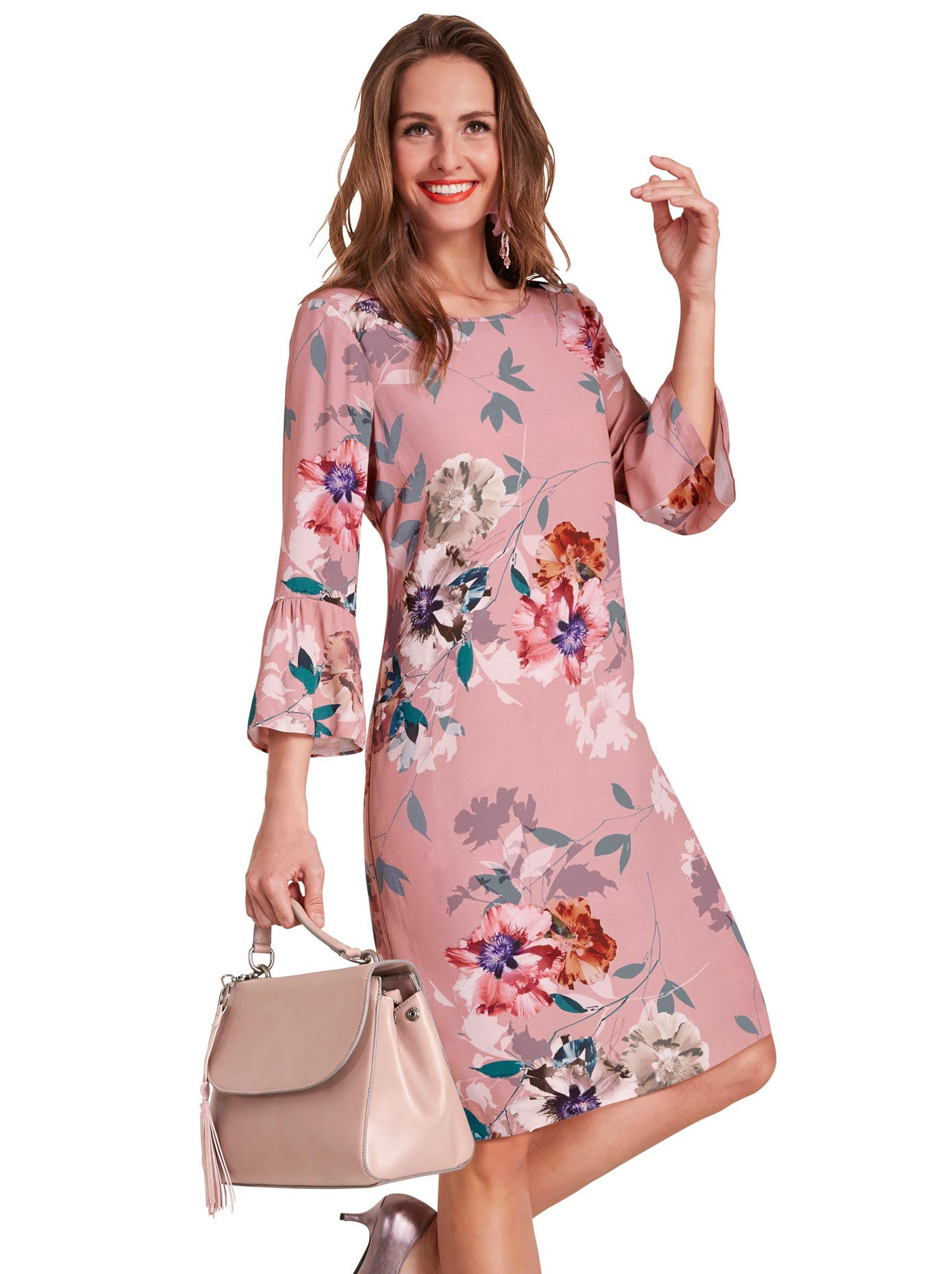 Lady Kleid mit romantischem Blumen-Muster