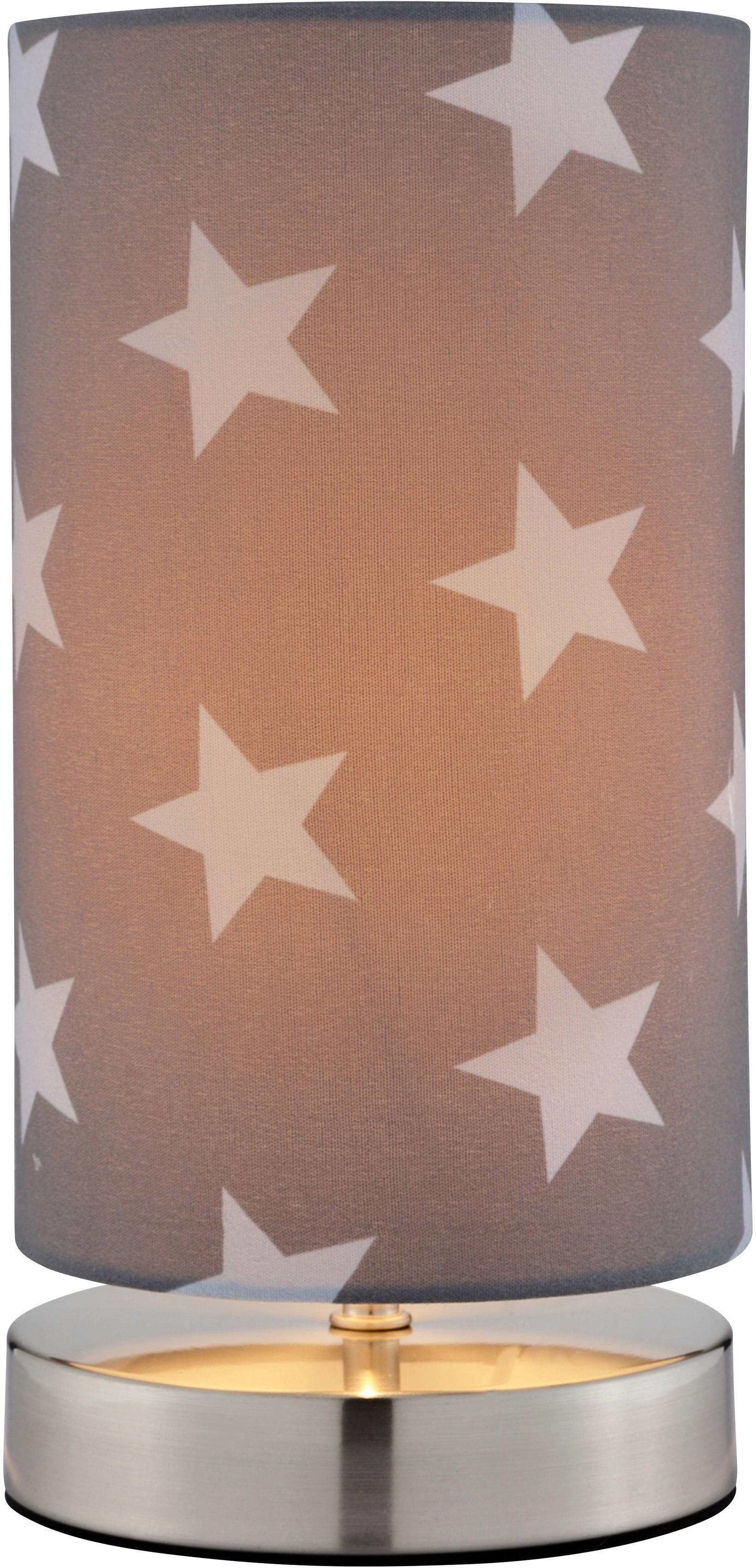 Lüttenhütt Tischleuchte Steern, E14, Tischlampe mit Sterne - Stoffschirm Ø 12 cm, grau / hellgrau, Touch Dimmer