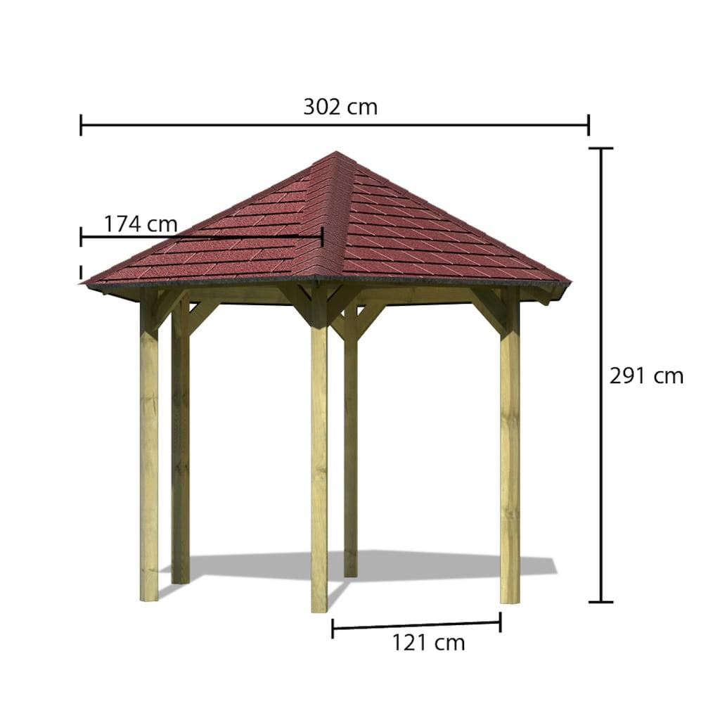 Karibu Holzpavillon »Madrid«, (Set), BxT: 349x302 cm, inkl. Dachschindeln und Pfostenanker