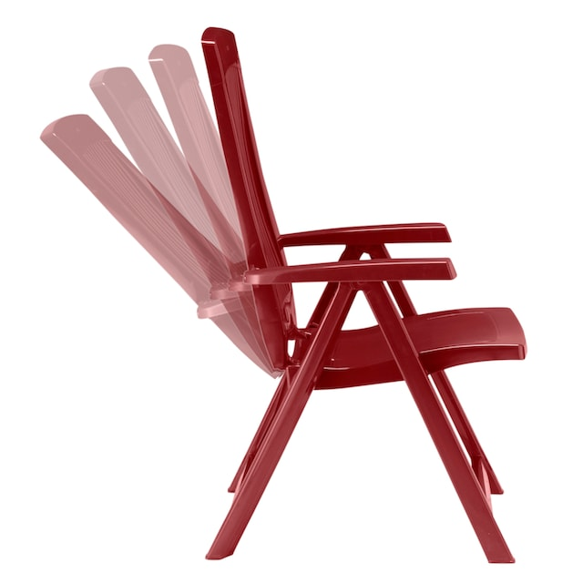 BEST Gartenstuhl »Kopenhagen«, (2er Set), Kunststoff, verstellbar, rot, inkl. Auflage