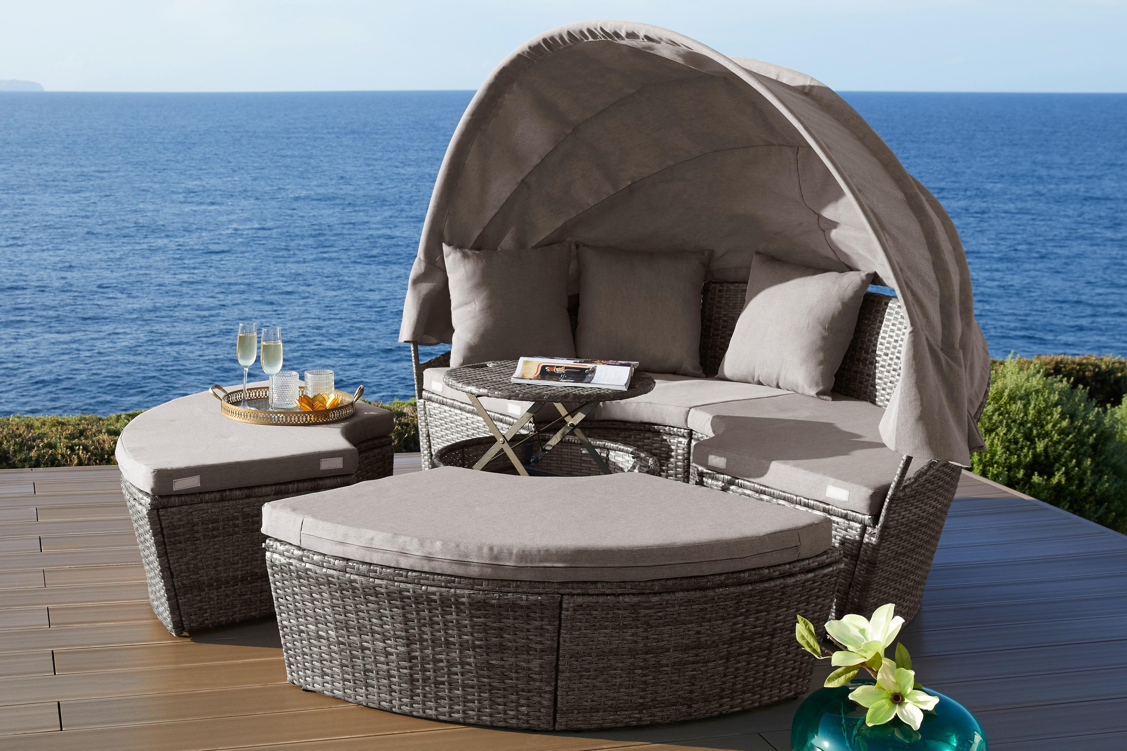 KONIFERA Loungebett Tahiti Premium Polyrattan braun inkl Auflagen