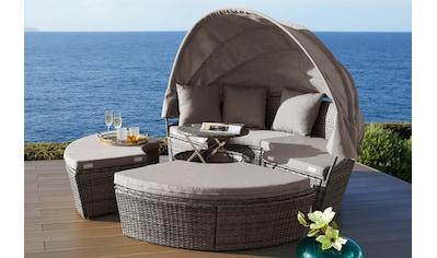 KONIFERA Loungebett »Tahiti Premium«, Polyrattan, braun, inkl. Auflagen kaufen
