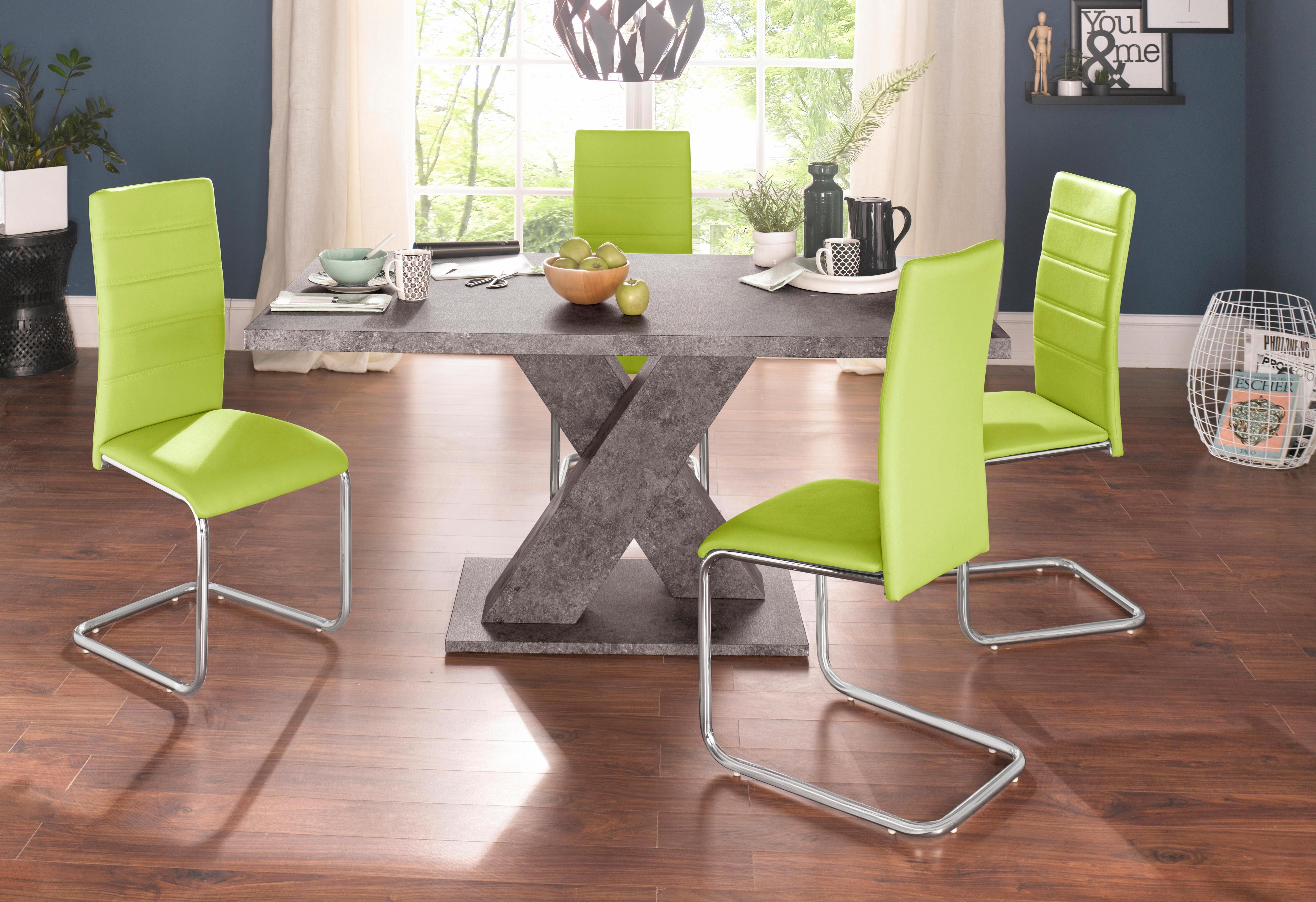 Essgruppe mit 4 Stühlen und Tisch in Zement-Optik