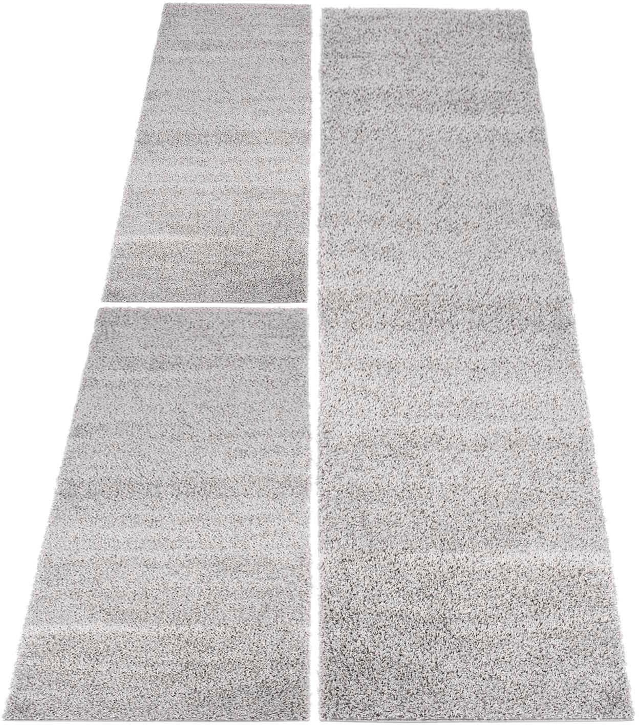 Carpet City Bettumrandung Shaggi uni 500 grau Bettumrandungen Läufer Teppiche