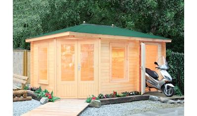 WOLFF FINNHAUS Set: Gartenhaus »Anna 40 - A/2«, BxT: 503x349 cm, inkl. Fußboden, grüne Schindeln kaufen