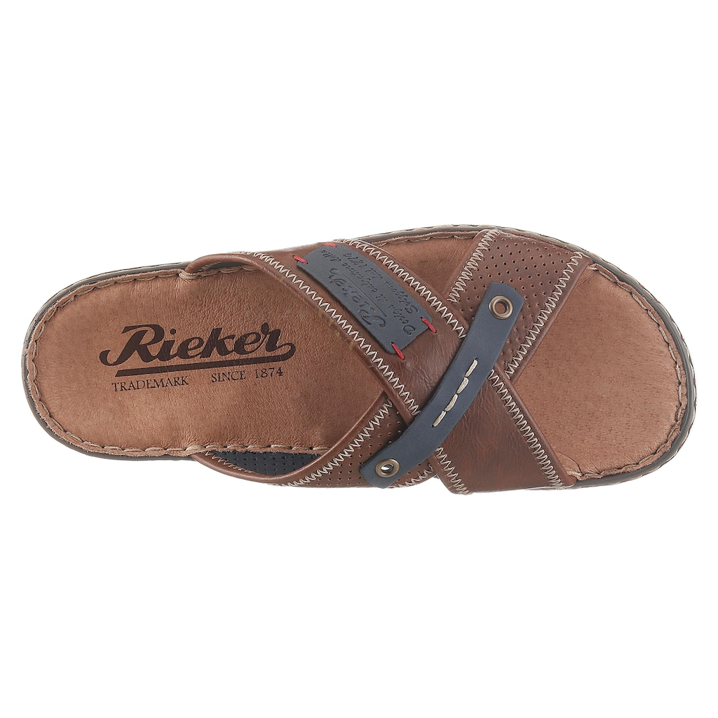 Rieker Pantolette, mit stylishen Logoapplikationen