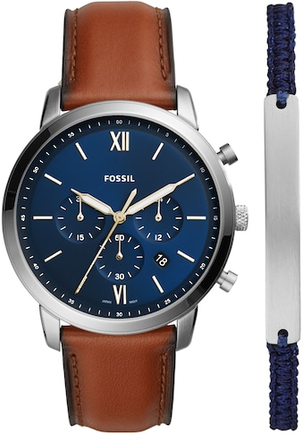 Fossil Chronograph »NEUTRA CHRONO, FS5708SET« (Set, 2 tlg., Uhr mit zusätzlichem Stoffarmband) kaufen