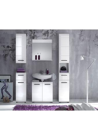 trendteam Badmöbel-Set »Skin«, (Set, 5 tlg.), Badezimmerschränke mit Fronten in Hochglanz- oder Holzoptik kaufen