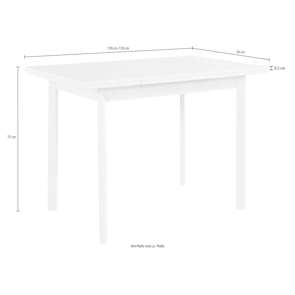 my home Esstisch »Paris«, Breite 110-170 cm mit Auszugsfunktion