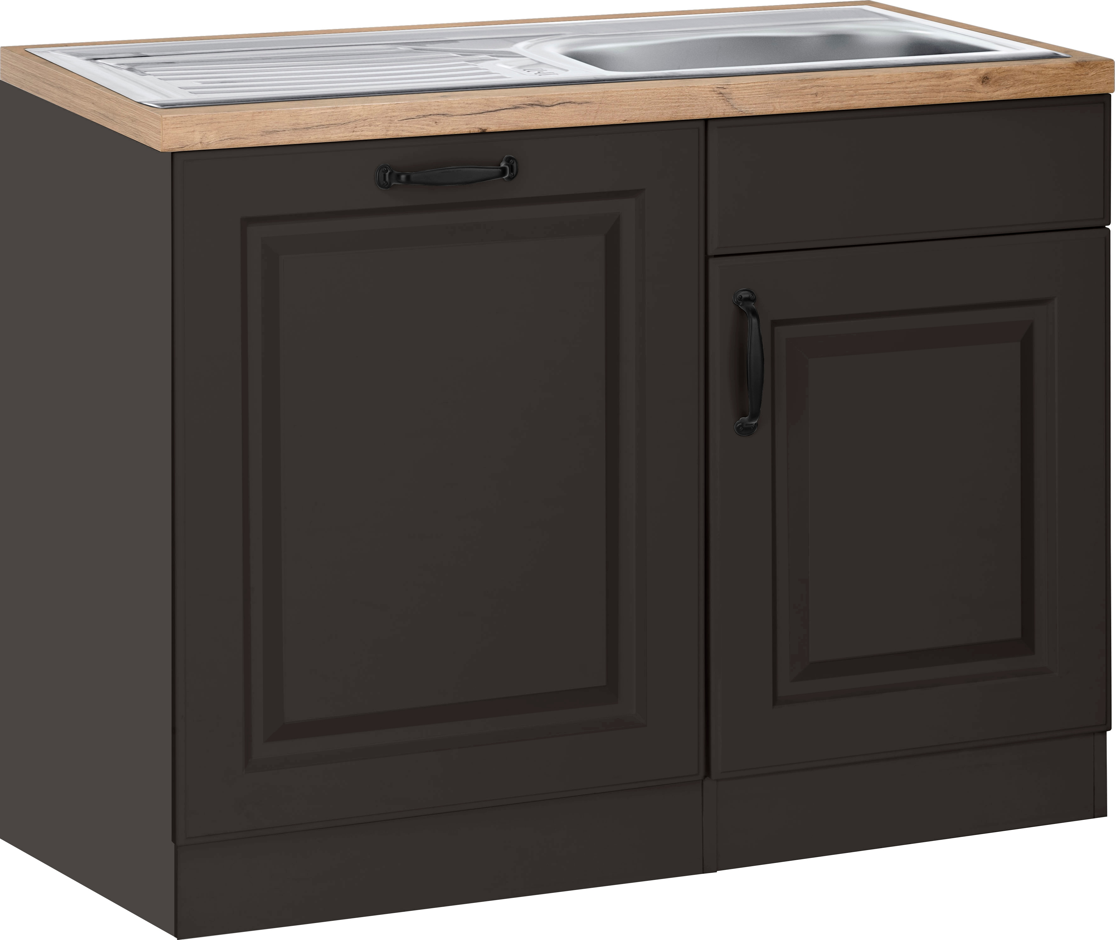 wiho Küchen Spülenschrank Erla, 110 cm breit, inkl. Tür/Sockel für Geschirrspüler grau Spülenschränke Küchenschränke Küchenmöbel