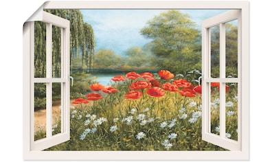 Artland Wandbild »Fensterblick Mohnwiese«, Fensterblick, (1 St.), in vielen Größen & Produktarten -Leinwandbild, Poster, Wandaufkleber / Wandtattoo auch für Badezimmer geeignet kaufen
