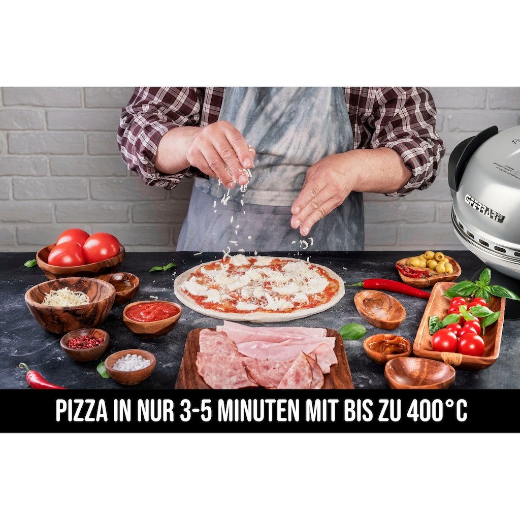 G3Ferrari Pizzaofen »Delizia G1000606 silber«, Grill, 1200 W, bis 400 Grad mit feuerfestem Naturstein / Pizza und Fladen uvm. in 3 Minuten / die Nr. 1 weltweit der Pizzamaker / auch für Tisch und Garten