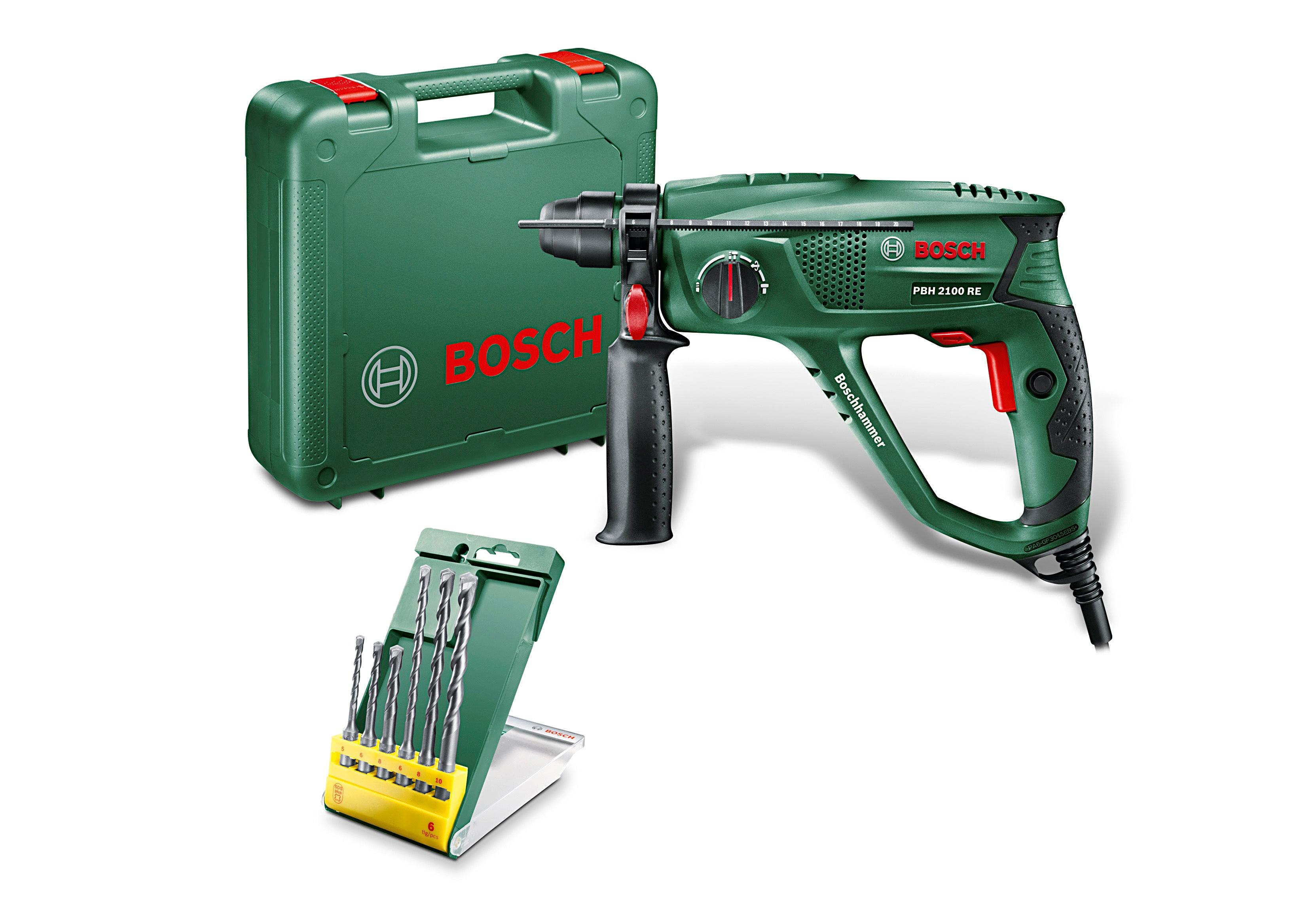 BOSCH Bohrhammer PBH 2100 RE, inkl. 6-tlg. Bohrer-Set grün Bohrhämmer Werkzeug Maschinen