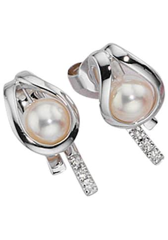 JOBO Perlenohrringe, 585 Weißgold 6 Diamanten 2 Süßwasser-Zuchtperlen kaufen
