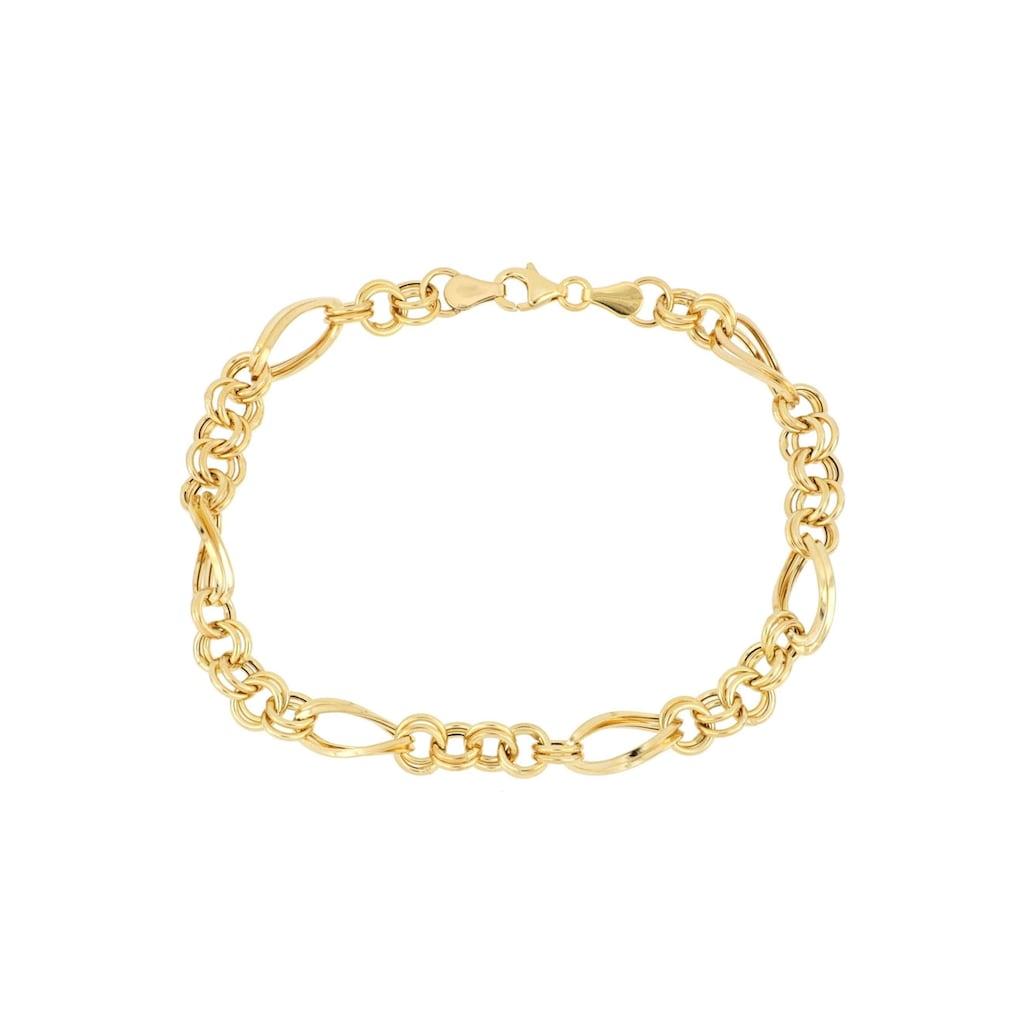 Firetti Goldarmband »in Figarokettengliederung, 5,8 mm, glänzend, Zwillingsglieder rund/oval 5:1, halbmassiv«