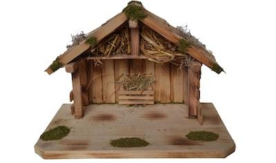 Alfred Kolbe Krippe »Krippenstall für 9 cm Figuren, Massivholzboden, geflammt«, (1... kaufen