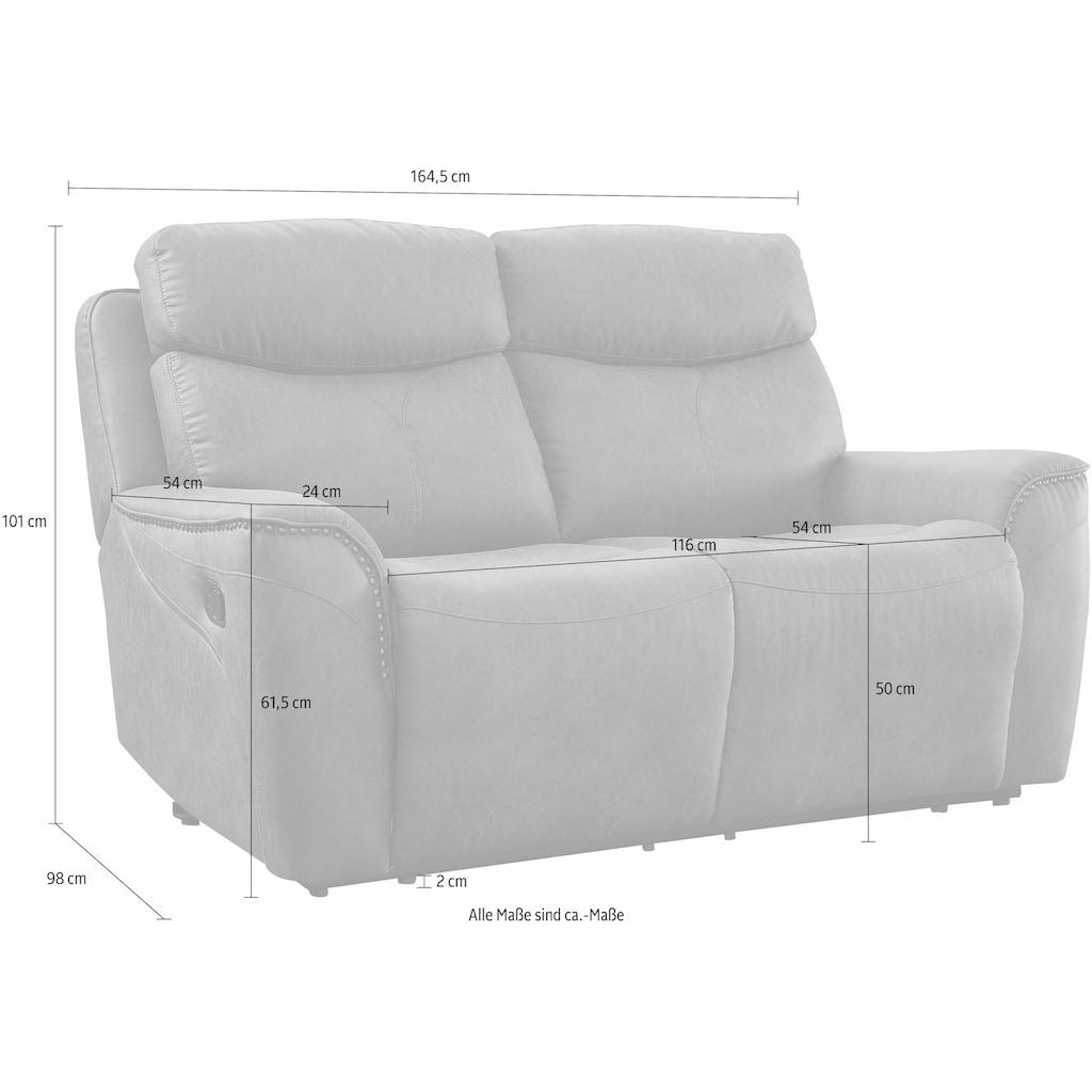Home affaire 2-Sitzer »Pius«, mit Relaxfunktion und Nieten an den Armlehnen, Federkern