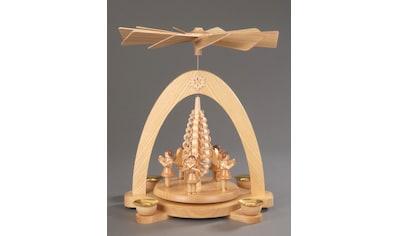 Albin Preissler Weihnachtspyramide »5 Engel mit Spanbaum«, Handwerkskunst aus dem... kaufen