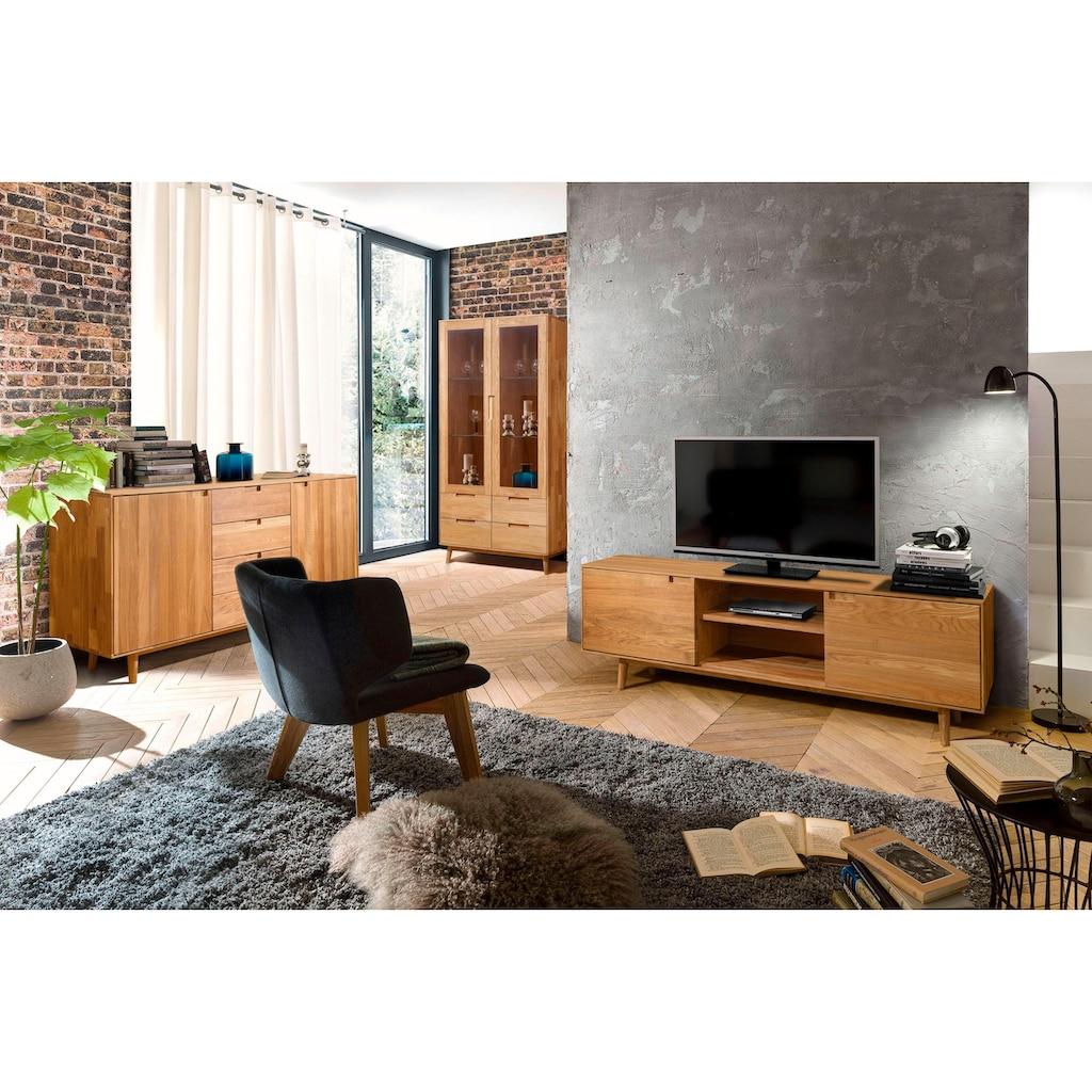 Home affaire Lowboard »Scandi«, aus massivem Eichenholz, mit sehr viel Stauraum, Breite 180 cm