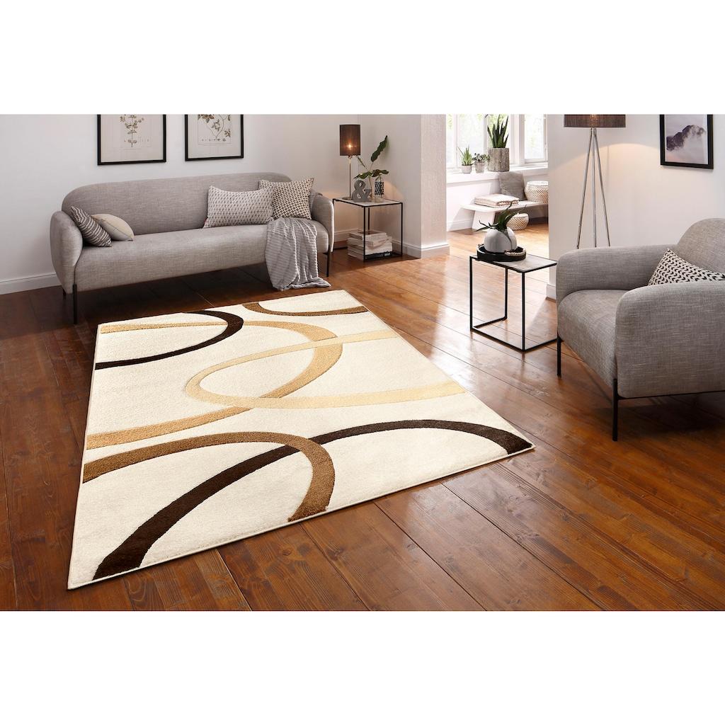 my home Teppich »Bill«, rechteckig, 10 mm Höhe, mit Handgearbeiteten Konturenschnitt, Wohnzimmer
