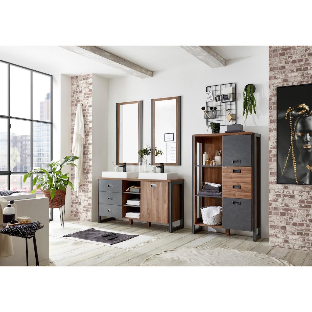 Home affaire Badmöbel-Set »Detroit«, (Set, 4 St.), inklusive 2 Aufsatzwaschbecken aus Mineralguss