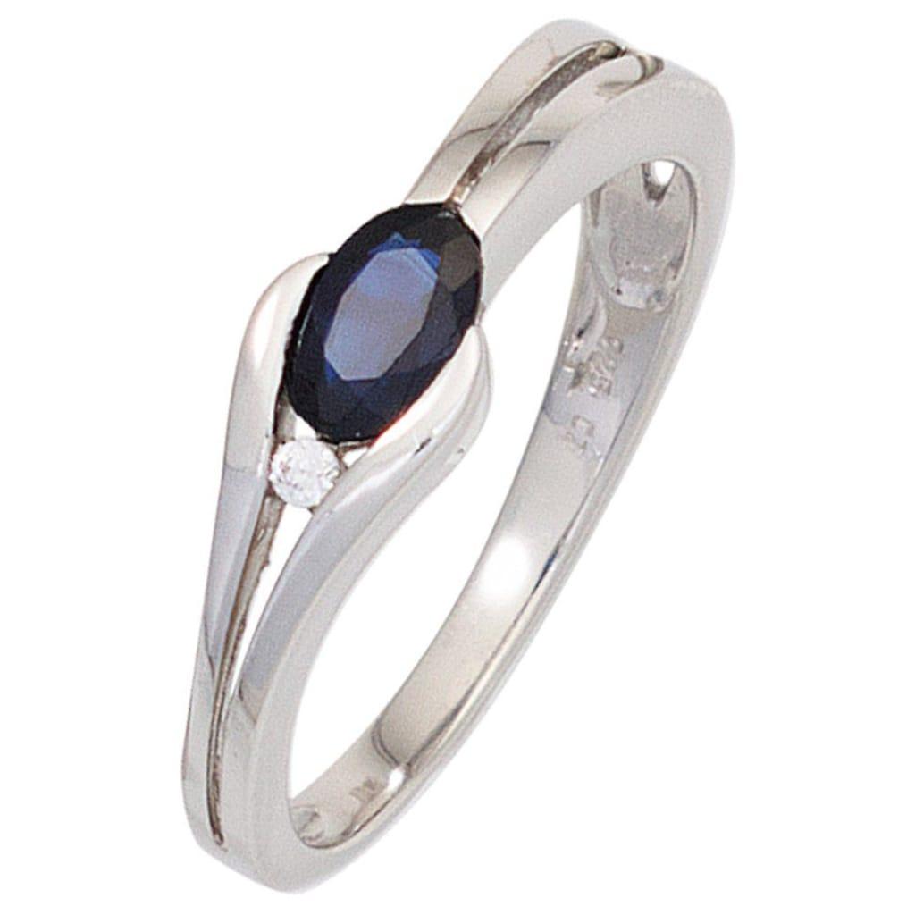 JOBO Diamantring, 333 Weißgold mit Safir und Diamant