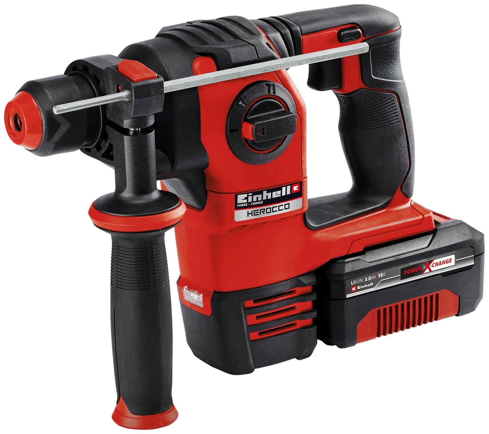 Einhell Akku-Bohrhammer HEROCCO Kit +5 (1x3,0Ah), (5 tlg.) rot Bohrhämmer Werkzeug Maschinen