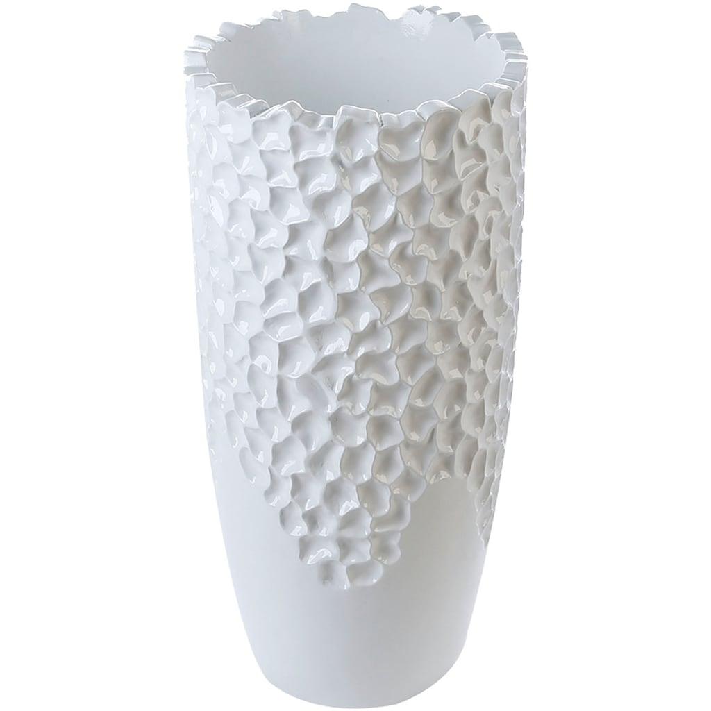 Casablanca by Gilde Pflanzkübel »Carve«, (1 St.), dekorativer Blumentopf, groß, aus Fiberglas, in 2 Größen erhältlich, Wohnzimmer